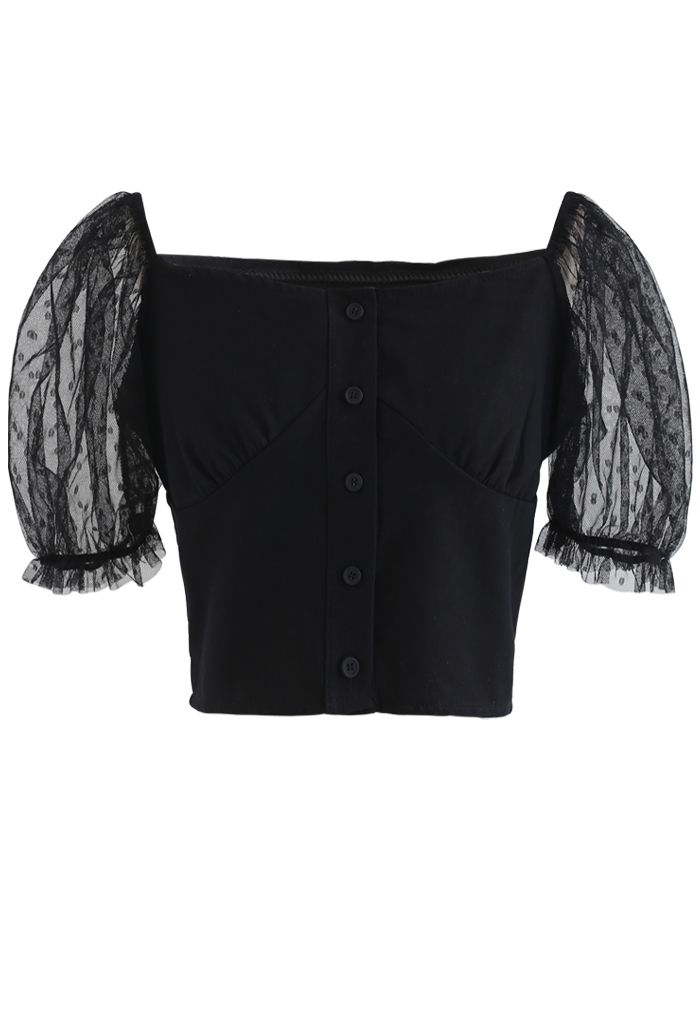Lace Sleeves Spliced Button Down Crop Top in Black