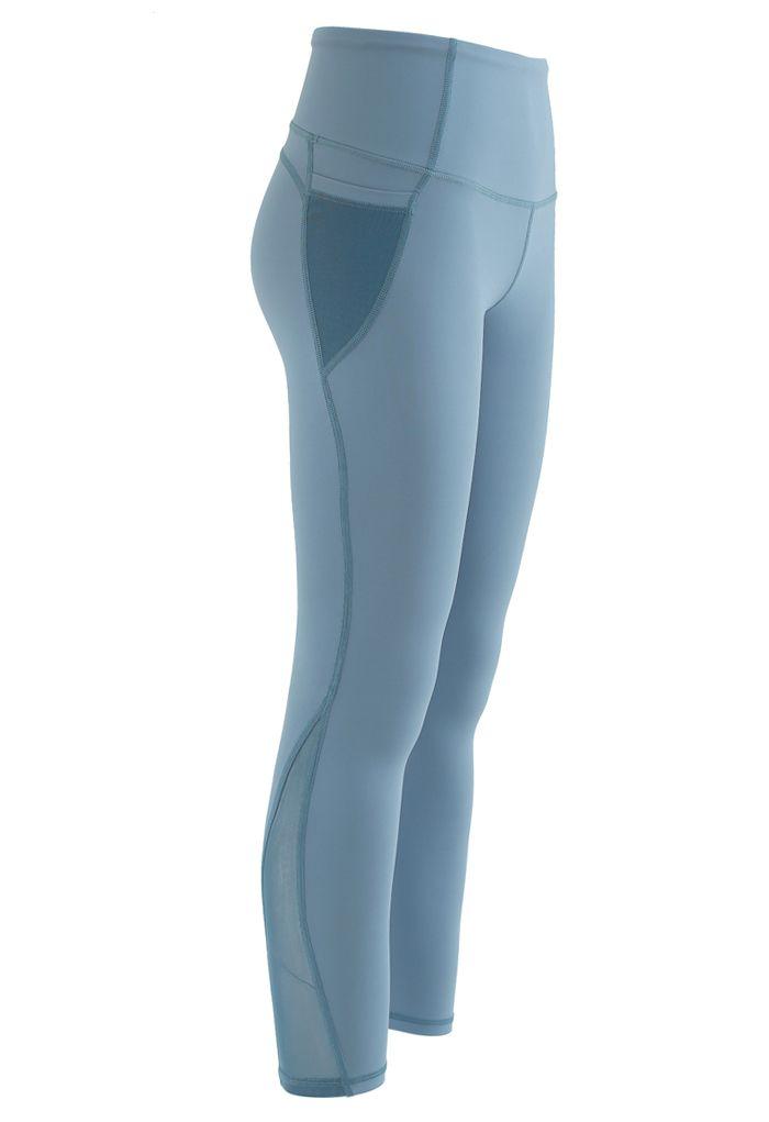 Mesh Pockets High Rise Seam Detail Ankle-Length Leggings in Blue