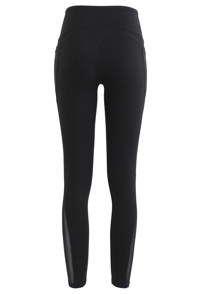 Mesh Pockets High Rise Seam Detail Ankle-Length Leggings in Black