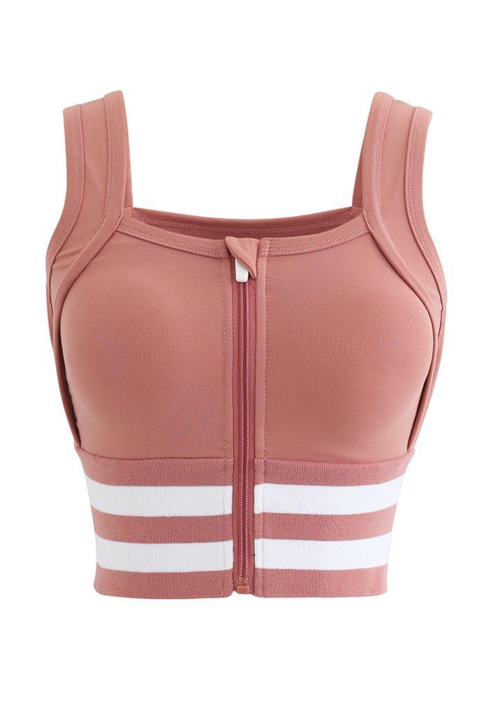 Ribbed Block Stripe Zip Front High-Impact Sports Bra in Orange