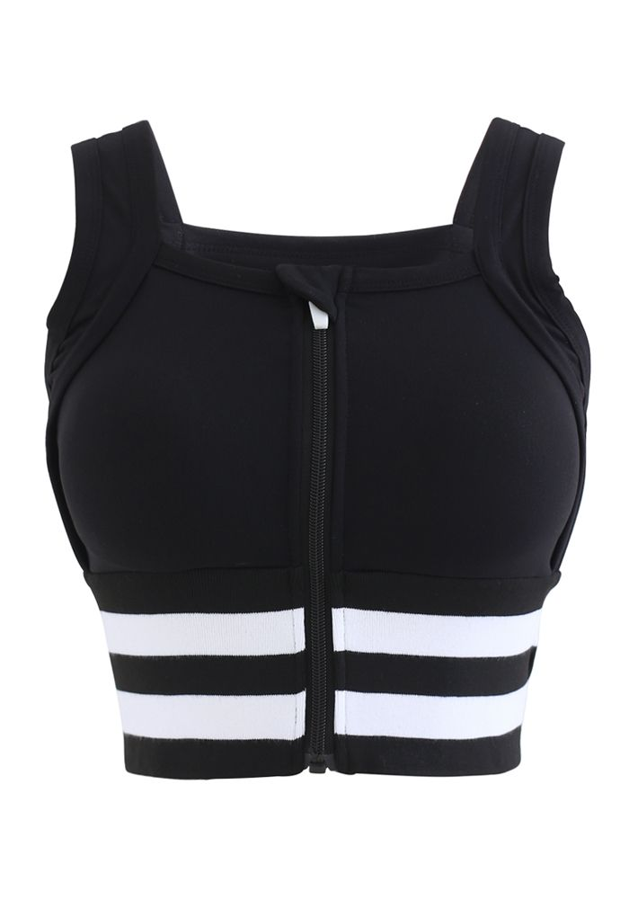 Ribbed Block Stripe Zip Front High-Impact Sports Bra in Black