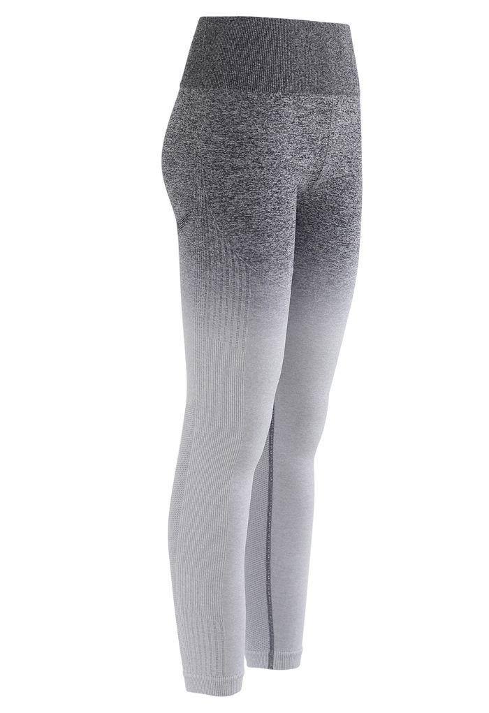 Gradient Medium-Impact Sports Bra and High-Rise Ankle-Length Leggings Set in Grey