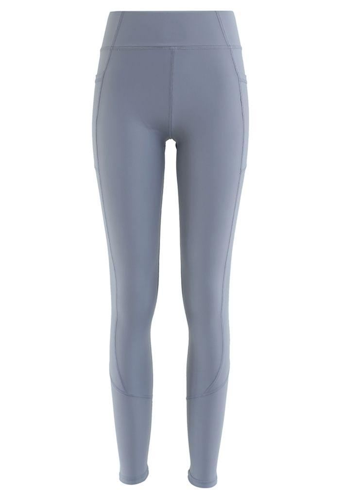 Side Pockets Seam Detail Ankle-Length Leggings in Dusty Blue