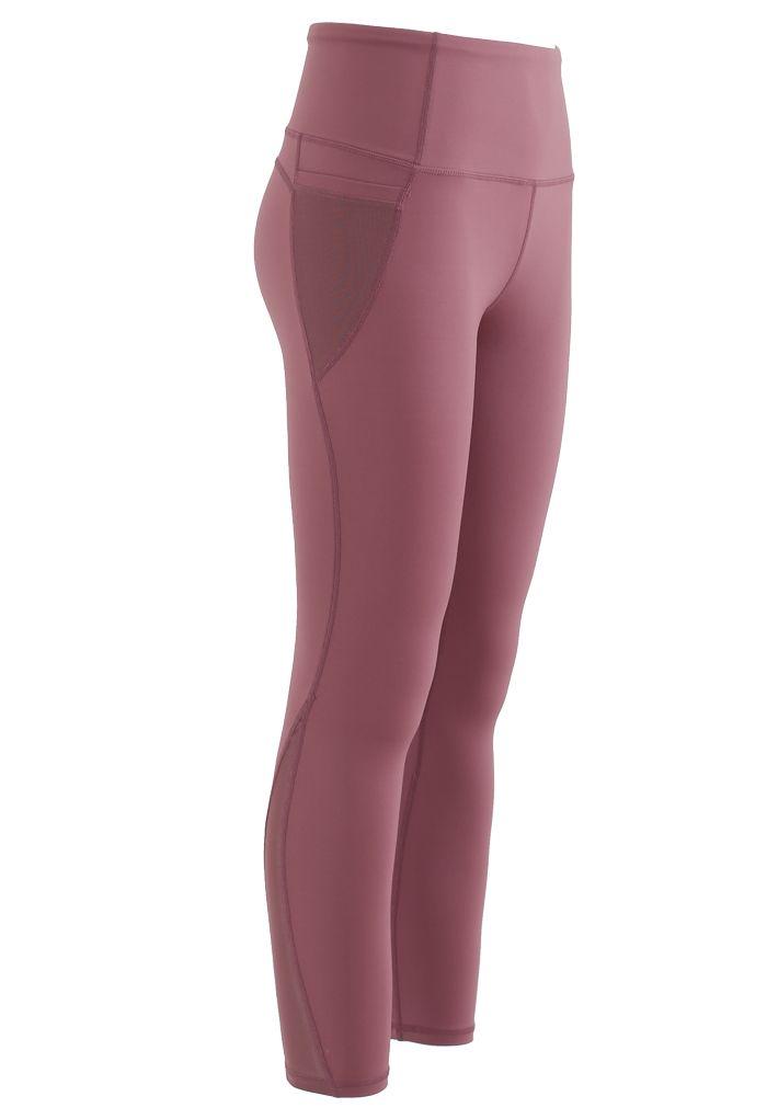 Mesh Pockets High Rise Seam Detail Ankle-Length Leggings in Rust Red