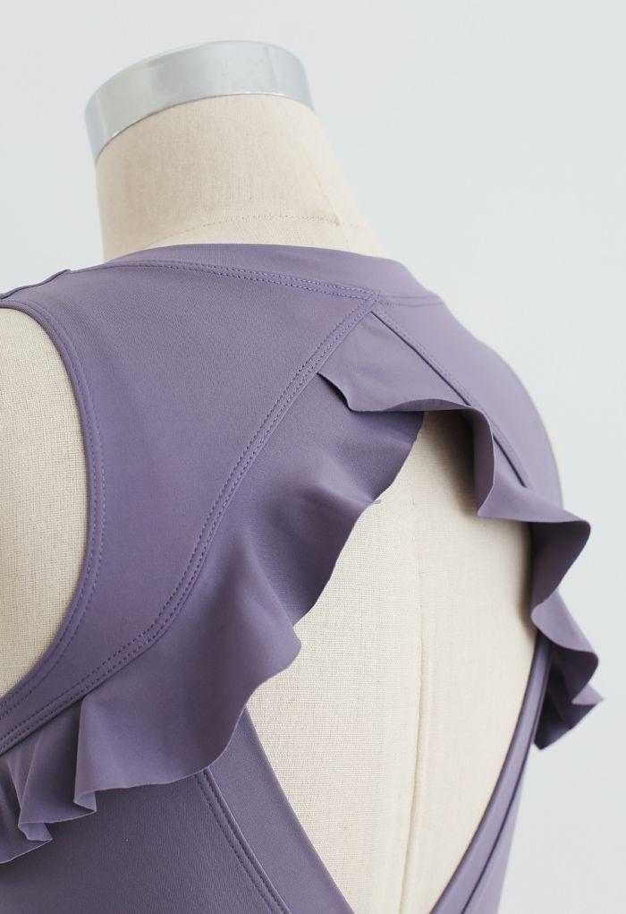 Ruffle Trim Cutout Back Medium-Impact Sports Bra in Purple