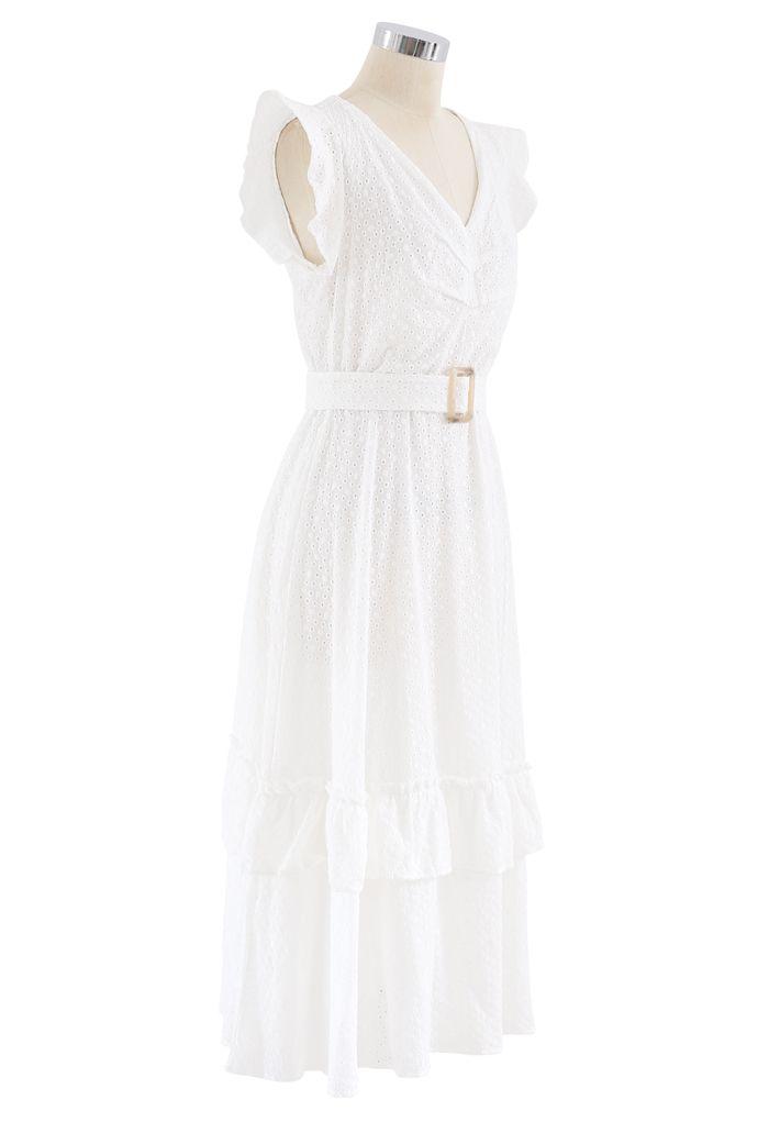 Buckle Belt V-Neck Ruffle Embroidered Eyelet Dress in White