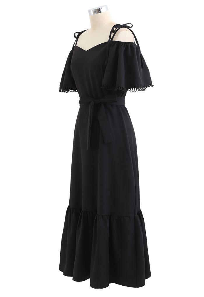 Cold-Shoulder Flare Sleeves Frill Hem Dress in Black