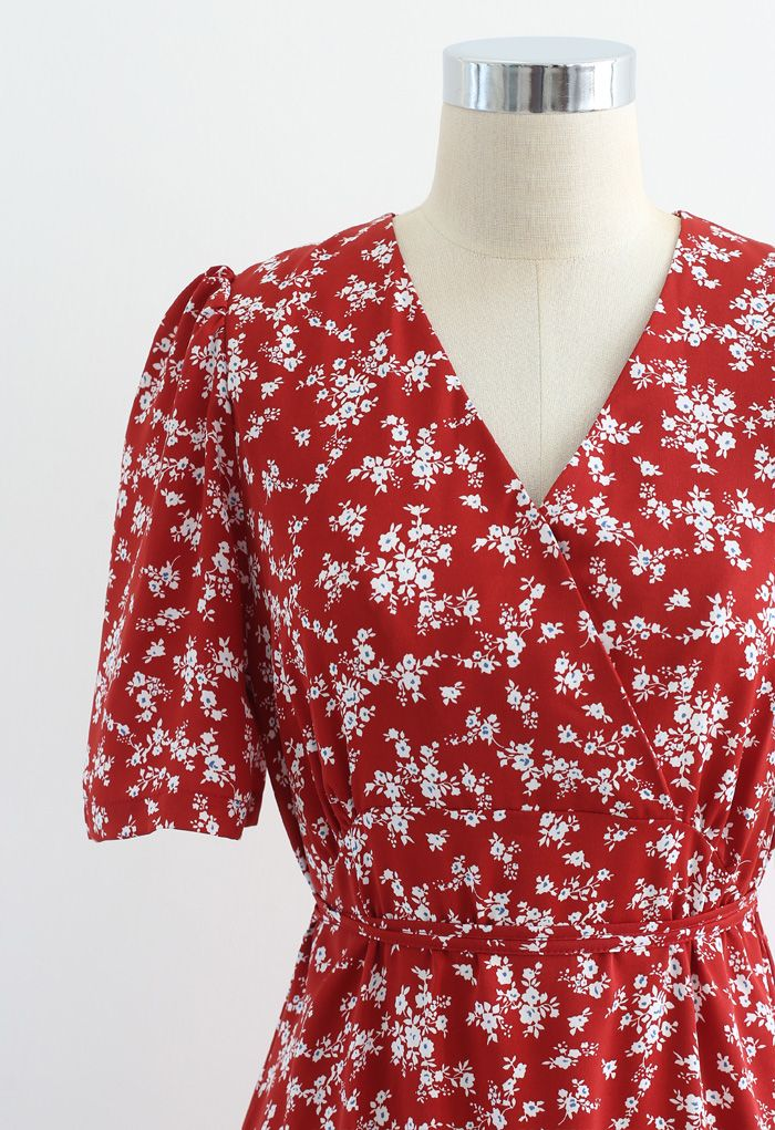 Blissful Floret Print Frill Hem Wrap Midi Dress in Red