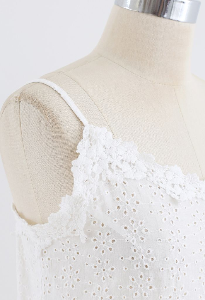 Embroidered Snowflake Eyelet Crop Cami Top