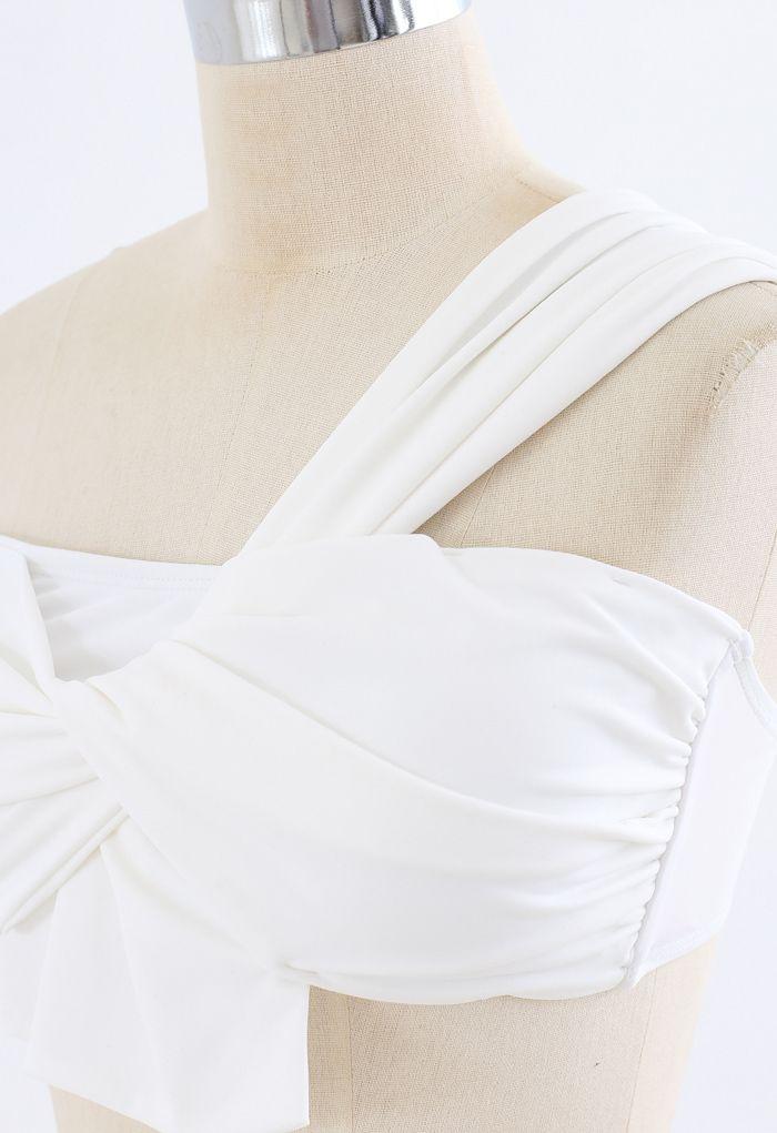 Sweet Knot One-Shoulder Bikini Set in White