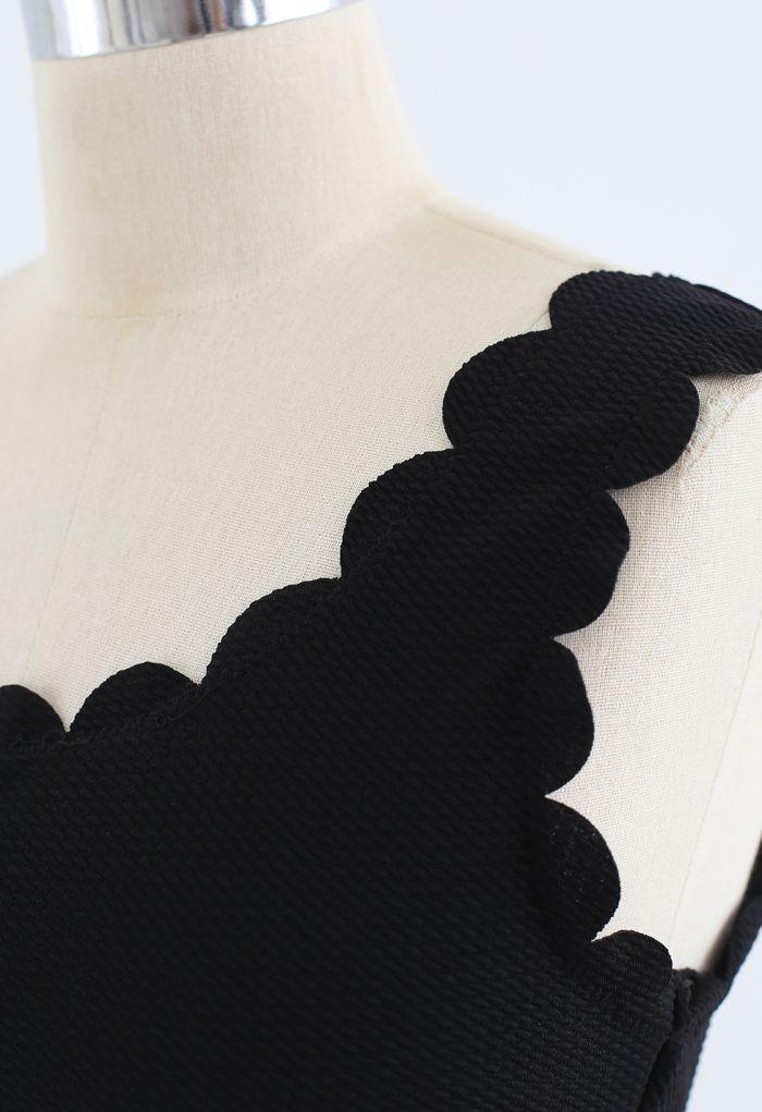 One-Shoulder Scalloped Bikini Set in Black