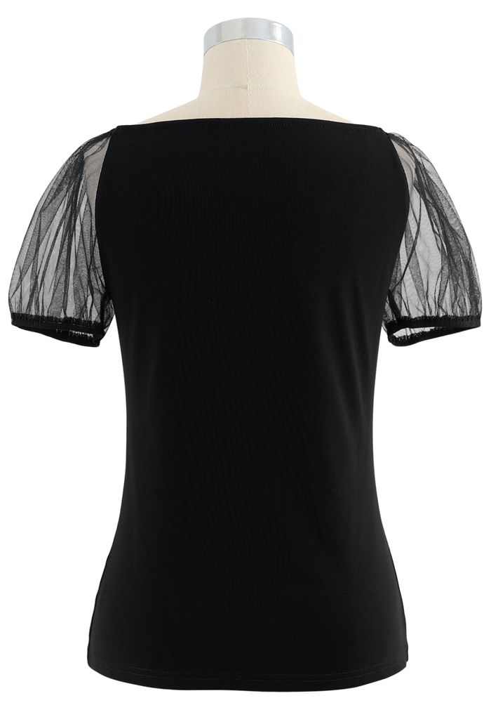Mesh Bubble Sleeves Spliced Sweetheart Neck Top in Black