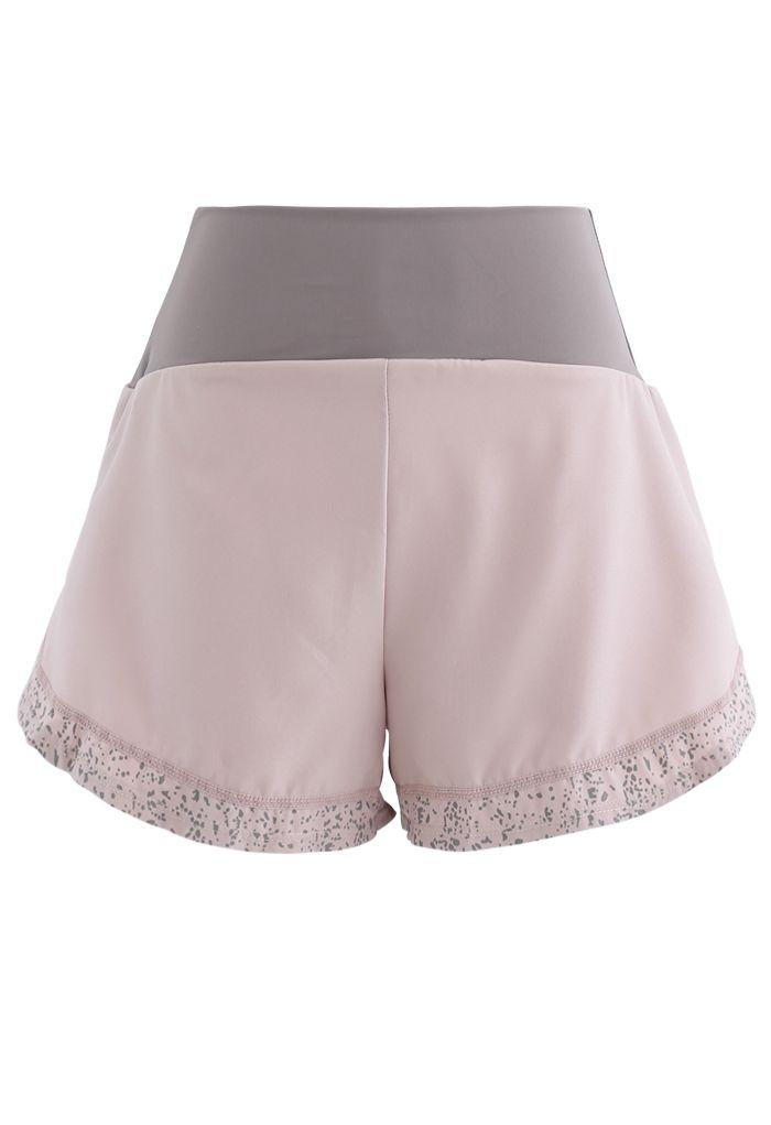 Contrast Color Spot Trim Luminous Sports Shorts in Light Pink