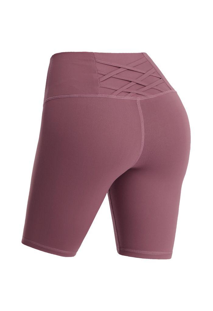 Crisscross Lines Trim Legging Shorts in Burgundy