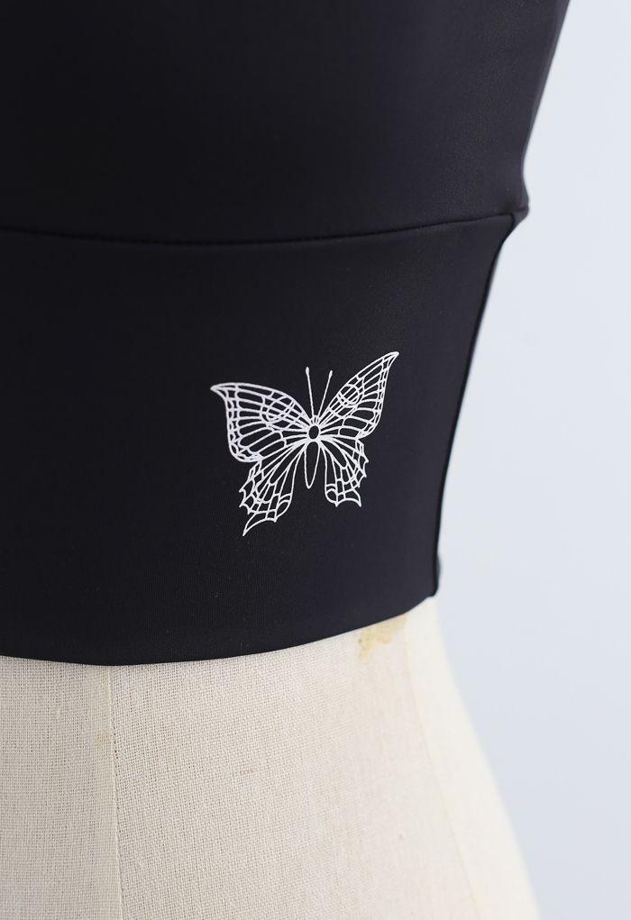 Butterfly Print Medium-Impact Sports Bra in Black
