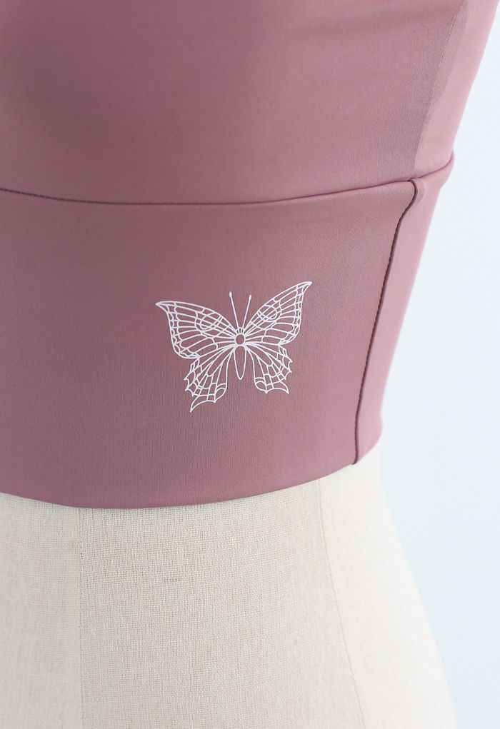 Butterfly Print Medium-Impact Sports Bra in Dusty Pink