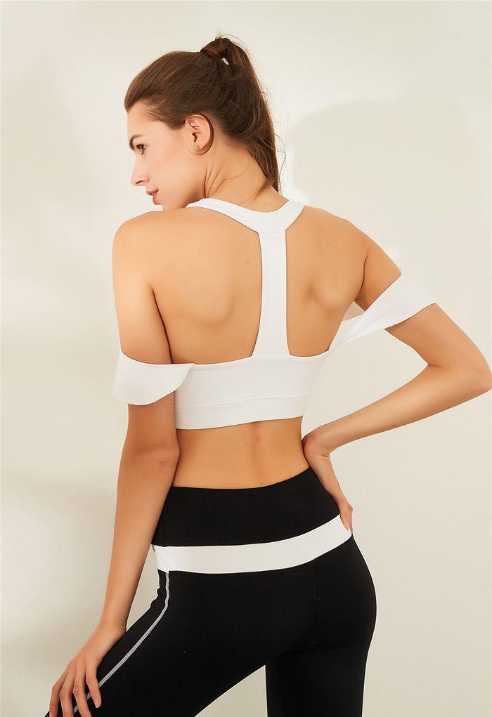 Ruffle Trim I-Shaped Back Low-Impact Sports Bra in White