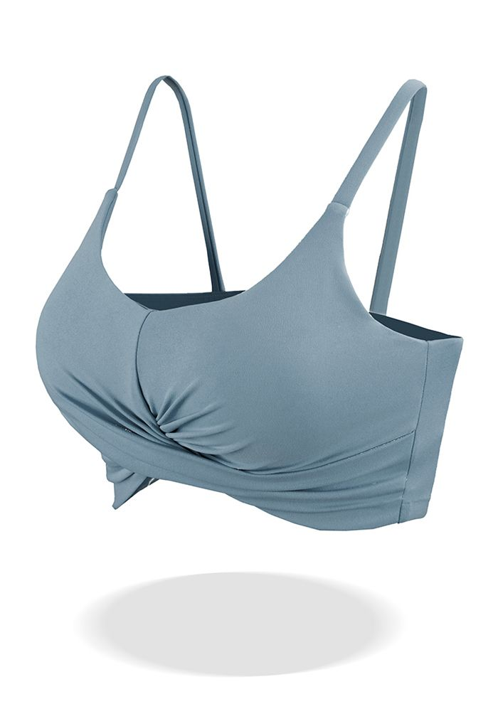 Crossover Ruched Low-Impact Sports Bra in Dusty Blue