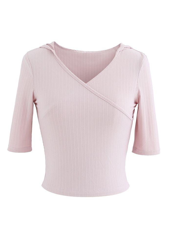 Stripe Crisscross Front Hooded Crop Sports Top in Light Pink