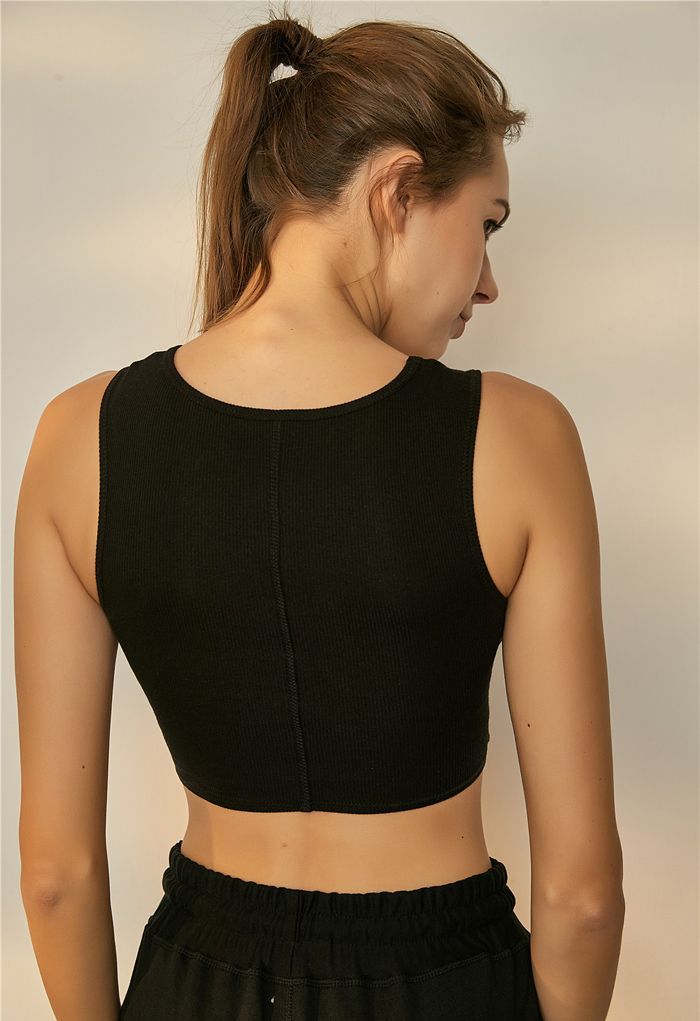 Twist Front Ribbed Sleeveless Low-Impact Sports Bra in Black