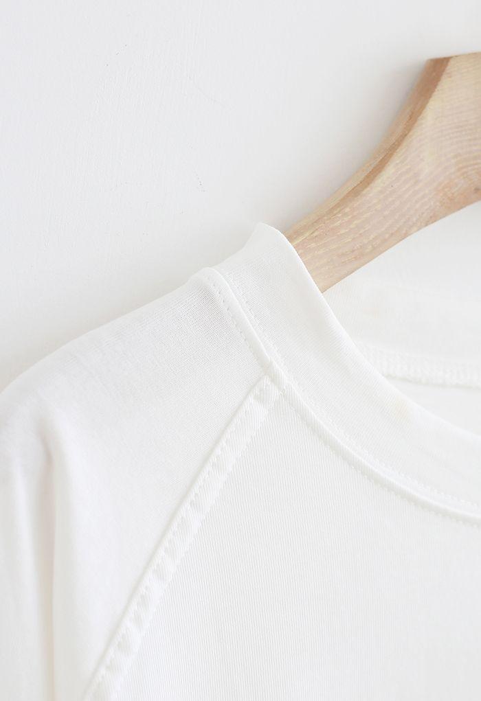 Long Sleeves Loose Pullover Sweatshirt in White
