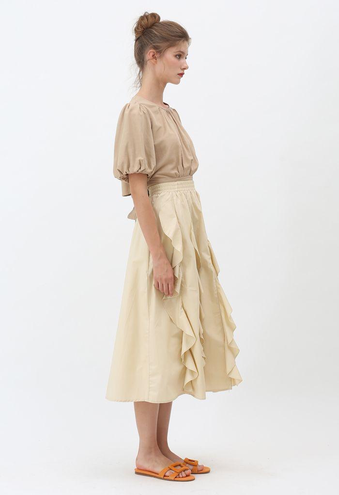 Ruffle Trim A-Line Cotton Midi Skirt in Cream