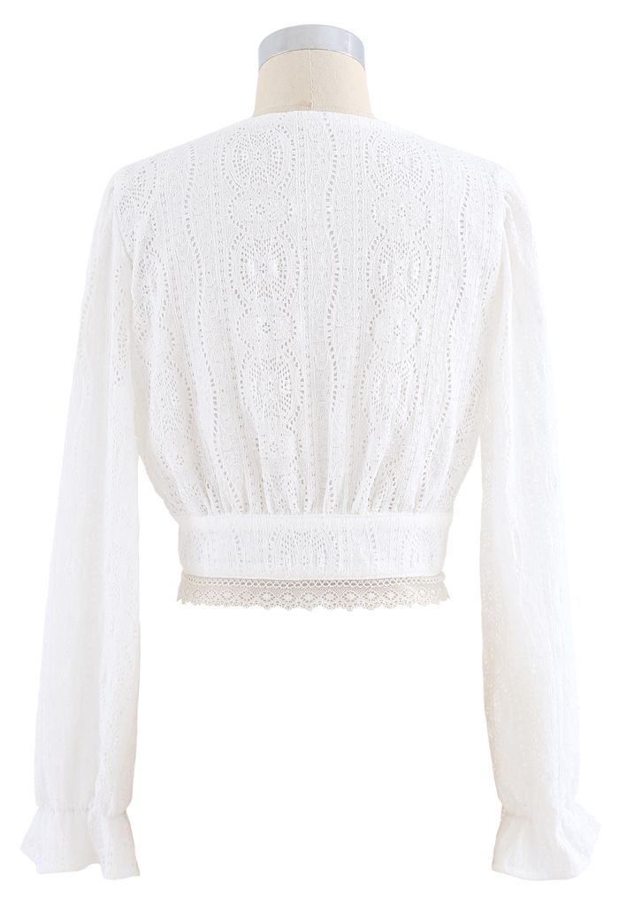 V-Neck Pearl Button Lace Top in White
