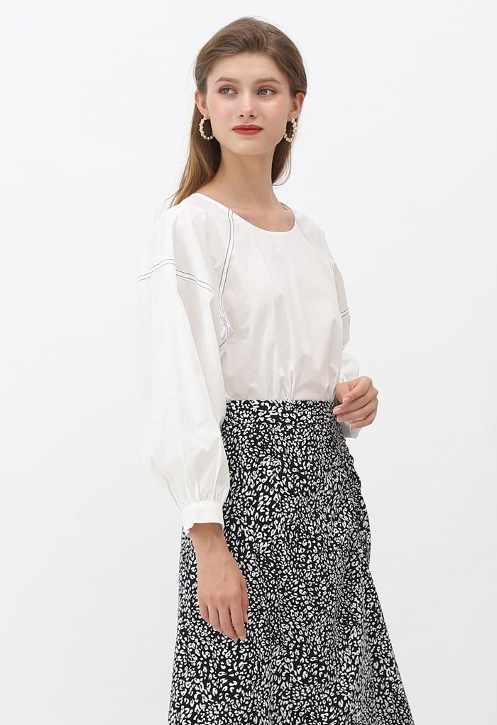 Contrast Line Puff Sleeves Loose Top in White