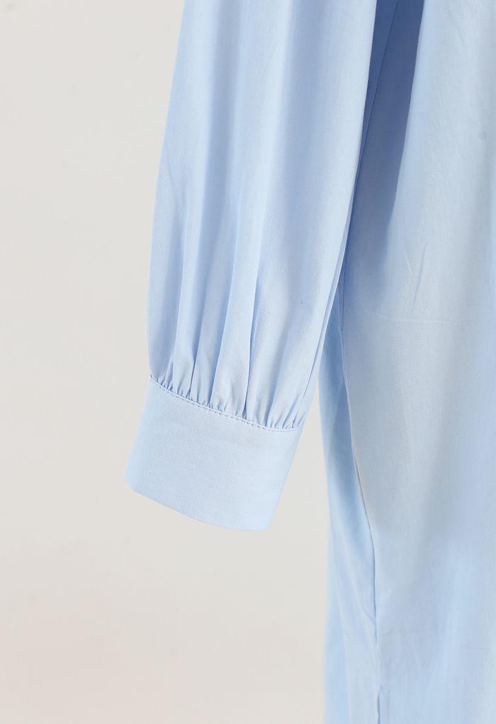 Asymmetric Split Hem Button Down Shirt Dress in Blue