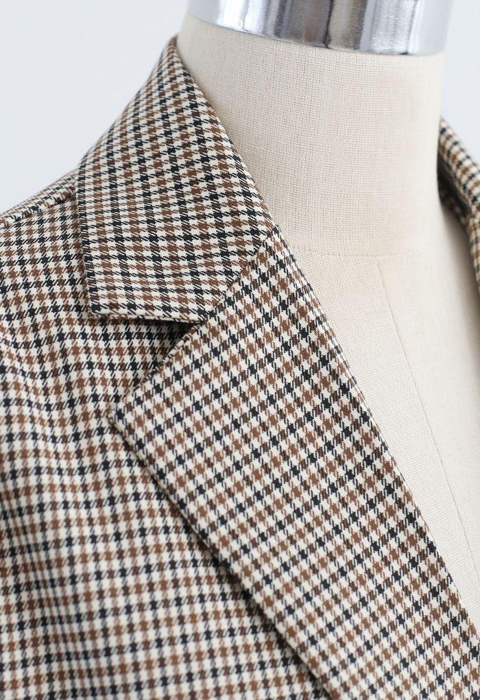 Houndstooth Pattern Split Cuffs Blazer