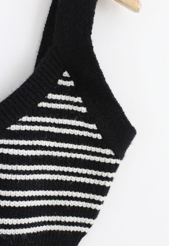 V-Neck Crop Knit Tank Top in Stripe