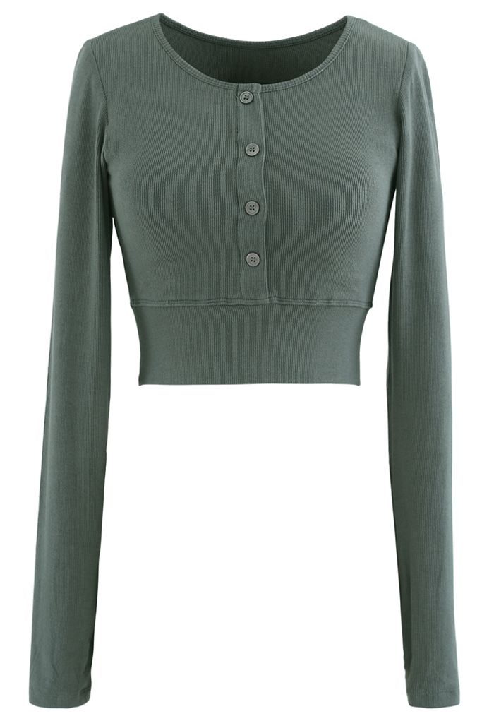 Buttoned Long Sleeves Crop Top in Teal