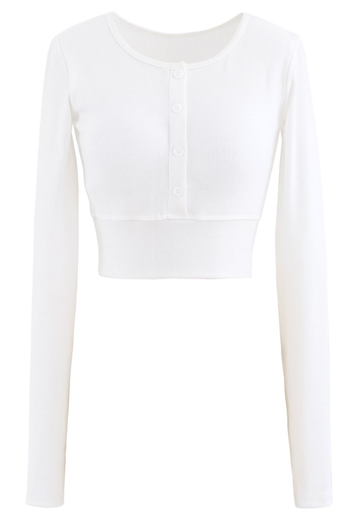 Buttoned Long Sleeves Crop Top in White