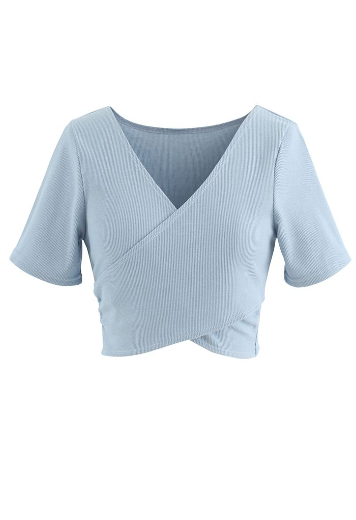 Crisscross Front Short Sleeves Ribbed Top in Dusty Blue