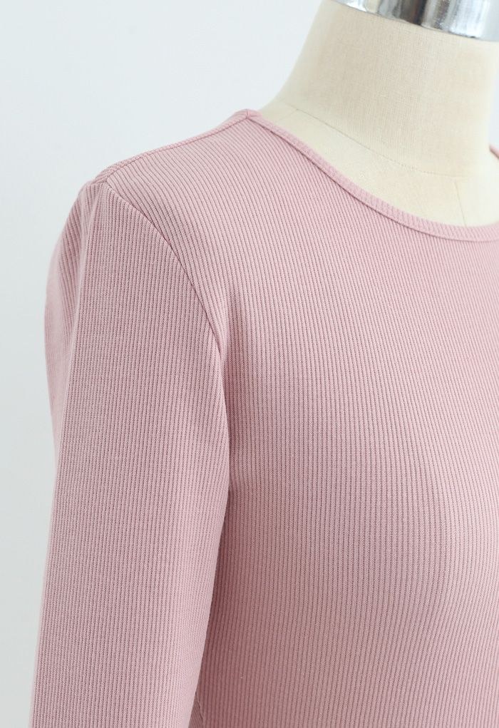 Hollow-Out Waist Sleeves Crop Top in Pink