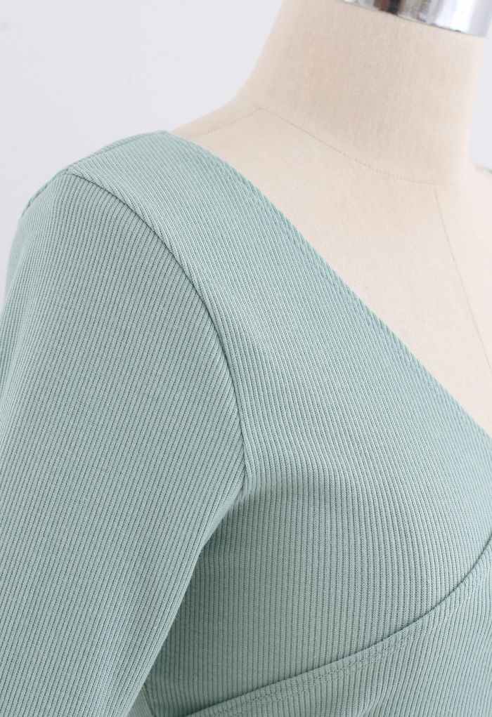Crisscross Front Long Sleeves Ribbed Top in Mint