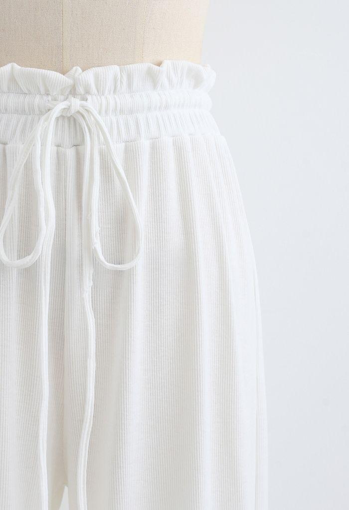 Drawstring Paper-Bag Waist Ribbed Yoga Pants in White