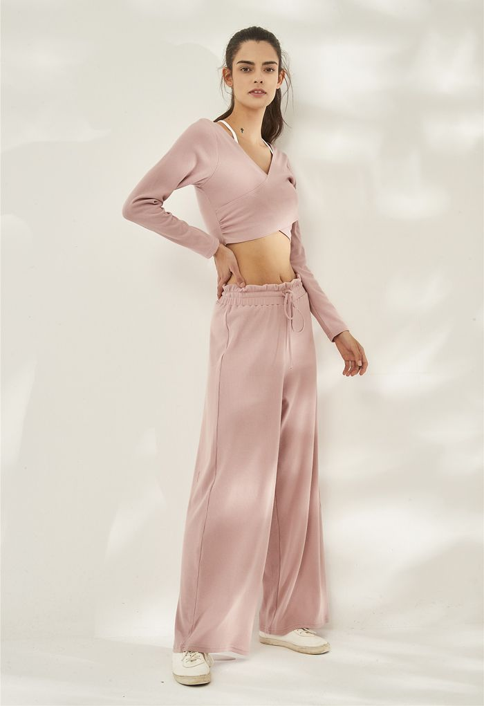 Crisscross Front Long Sleeves Ribbed Top in Pink