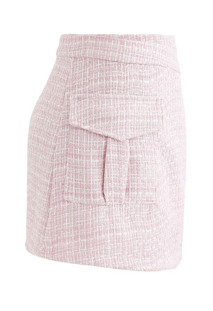 Tweed Asymmetric Mini Skirt in Pink