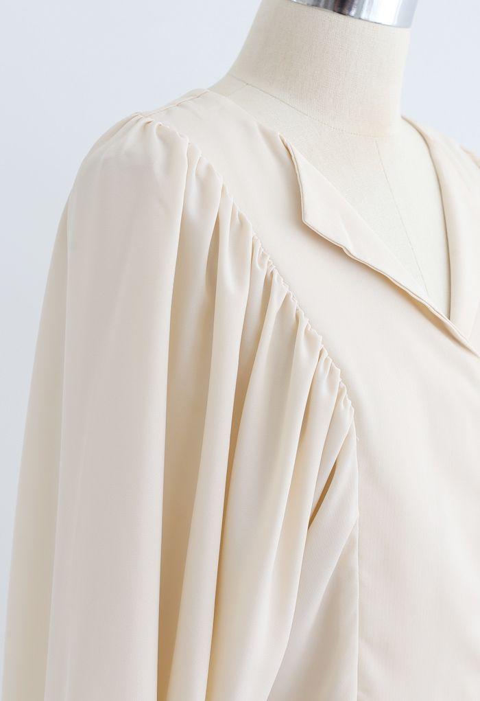 Batwing Puff Sleeves Crop Shirt in Cream