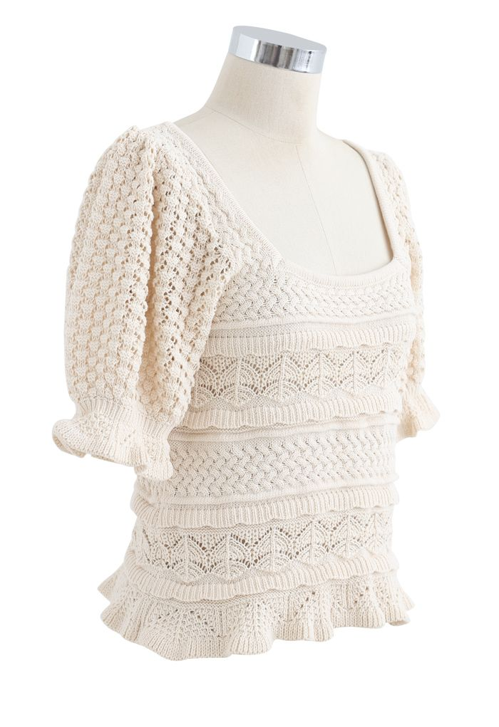 Hollow Out Puff Sleeves Ruffle Knit Top