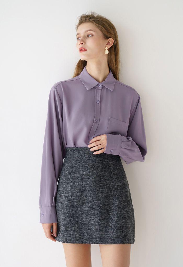 Wool-Blended Bud Mini Skirt in Smoke
