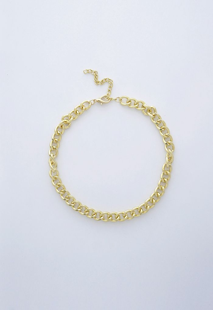 Gold Link Chain Choker Necklace