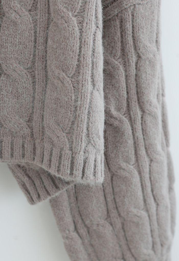 Turtleneck Braid Knit Crop Sweater in Taupe