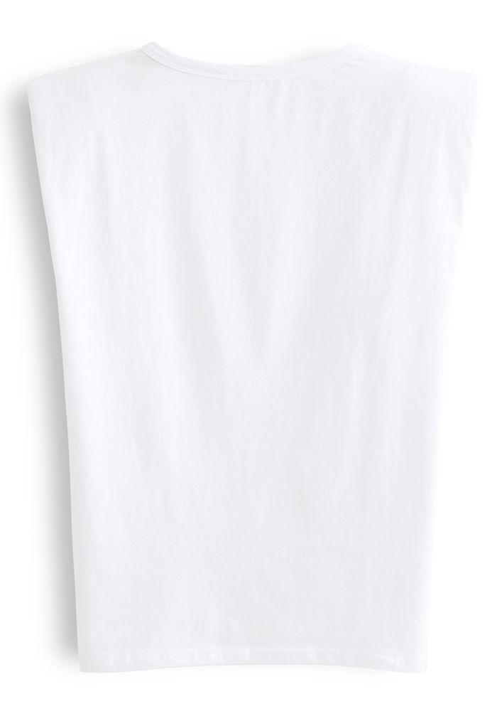 Padded Shoulder Sleeveless Top in White