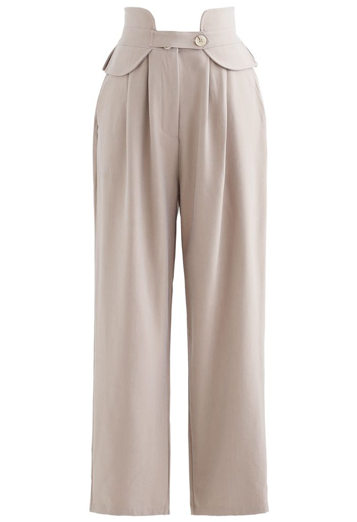 High-Waisted Tapered Pants in Sand