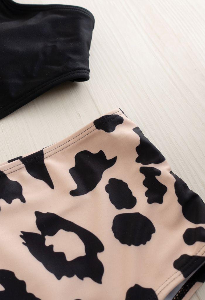Leopard Print One-Shoulder Cutout One-Piece Swimsuit