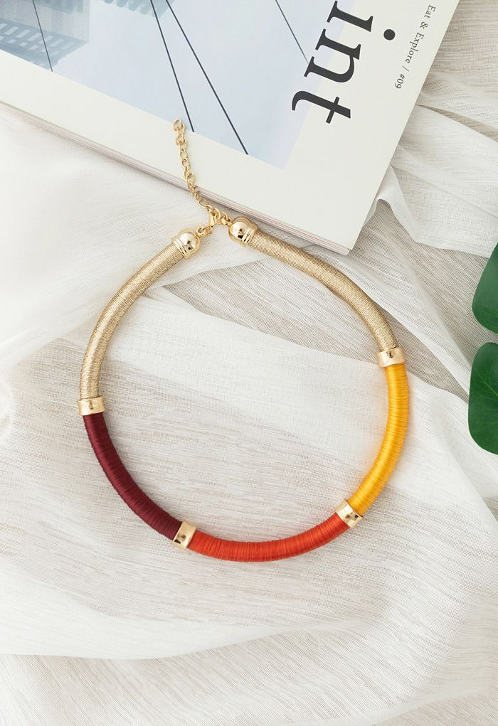 Multicolor Wrapped Metallic Tribal Necklace