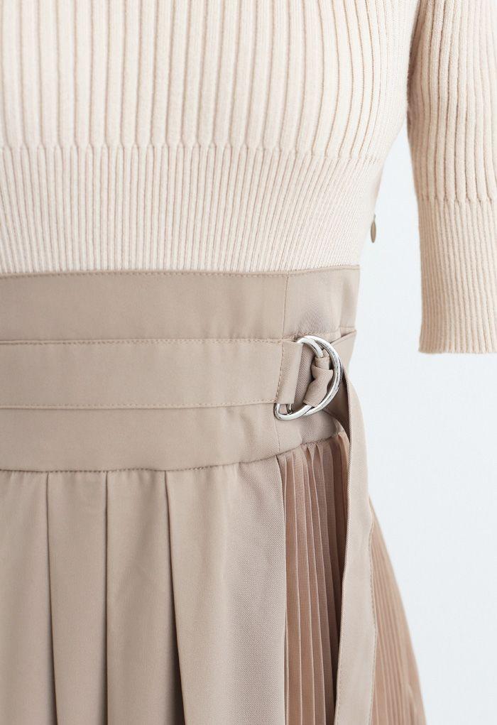 Knit Chiffon Spliced Belted Pleated Dress in Tan