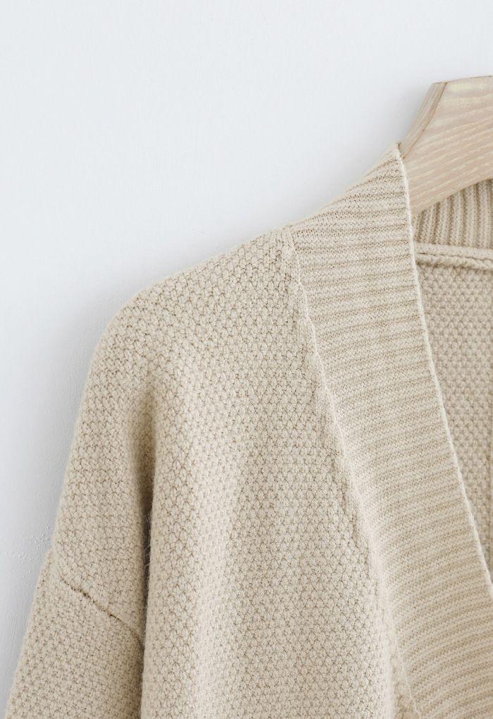 V-Neck Fringed Pockets Waffle Knit Cardigan
